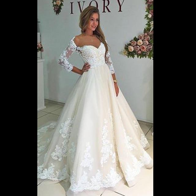 Extreem Dresstells trouwjurk elegant sweethart kanten mouwen a lijn tulle #LA71