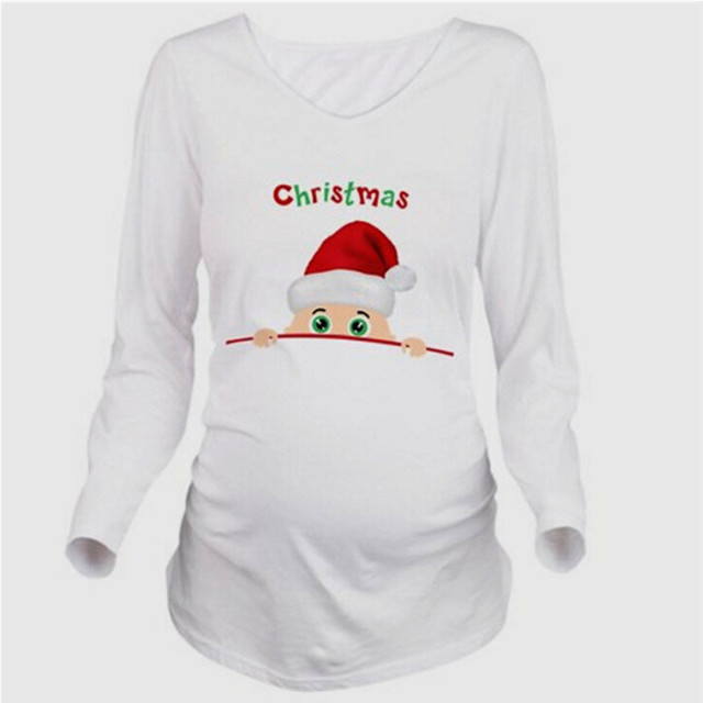 maternity pregnancy clothes christmas tees funny maternity pregnant tops long sleeves t shirt european pregnancy shirt - Maternity Christmas Shirts