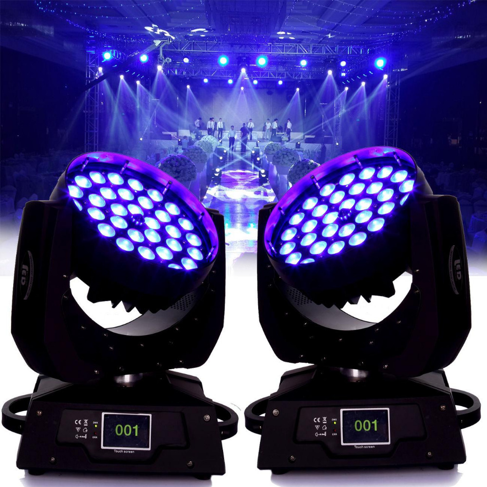 (Ship from Germany) 2pcs/ lot 36x10W RBGW Red Green Blue White LED Zoom Wash Effect Disco Head Spot Lamp DJ Stage Lighting