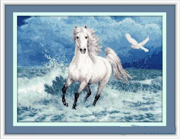 Embroidery Needlework Crafts 14CT Unprinted DMC DIY Quality Cross Stitch Kits Handmade Arts Free as the wind Horse Animal