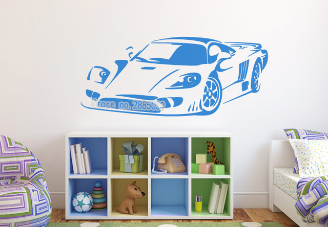 Sports car removable art wall stickers vinyl decals sofa background decor wall decal for boys rooms