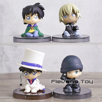 4 unids/set Detective Conan Caso cerrado Edogawa Konan Conan Edogawa Kaitou Kidd Furuya Rei Akai Shuuichi de PVC figuras de acción de juguete 5cm