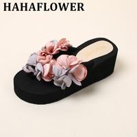 HAHAFLOWER Hot Summer Cool Woman Soft Handmade Summer Vacation Beach Flower Female Wedges Shoes Women Lady