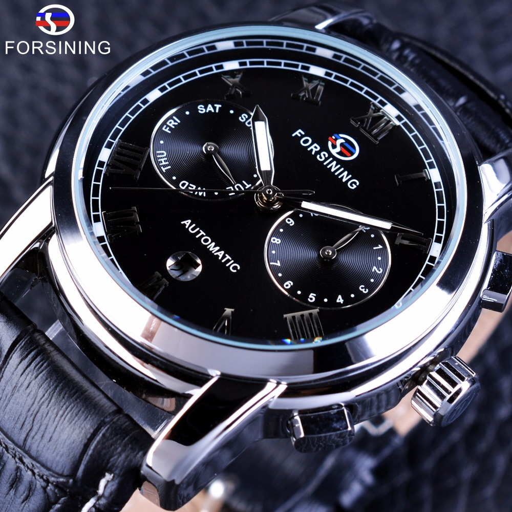Forsining Two Eyes Calendar Display Fashion Design Waterproof Male Wrist Watch Black Dial Men Automatic Watches Top Brand LuxuryForsining Two Eyes Calendar Display Fashion Design Waterproof Male Wrist Watch Black Dial Men Automatic Watches Top Brand Luxury