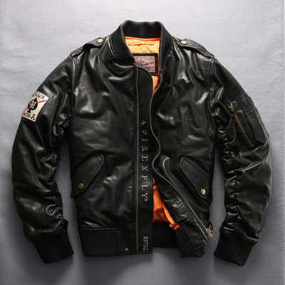 HTB1Dn20ziCYBuNkSnaVq6AMsVXaD Military air force flight jacket fur collar genuine leather jacket men winter dark brown sheepskin coat pilot bomber jacket