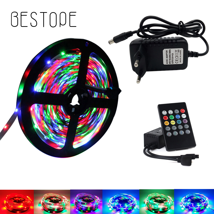 BESTOPE 20M 15M SMD 2835 RGB LED Strip light Waterproof 10M 5M RGB led ribbon tape music Controller DC 12V power adapter Kit