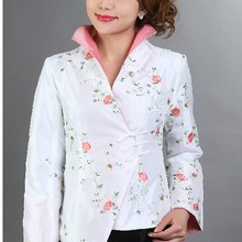 d9c4275a85d White Chinese Style Women Silk Satin Jacket Elegant Handmade Embroidery Coat  Flowers Overcoat M L XL XXL