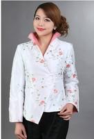 White Chinese Style Women Silk Satin Jacket Elegant Handmade Embroidery Coat Flowers Overcoat M L XL XXL XXXLM 08