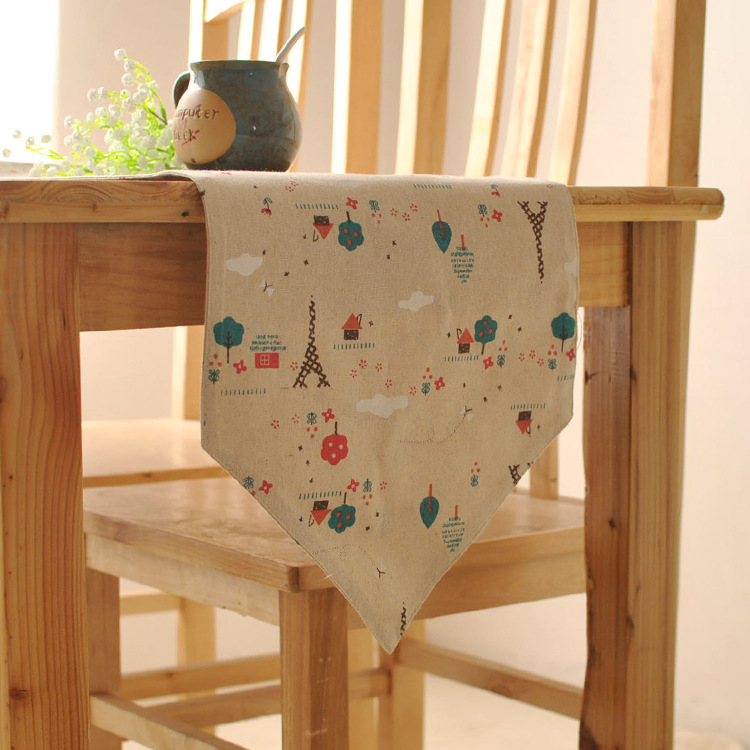 Pastoral style linen cloth table runner minimalist modern bedside sided flag