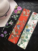Floral Print Lady Neck Bags Decoration 100 Silk Twilly Skinny Scarf Small Ribbon Hair Band Bandeaus