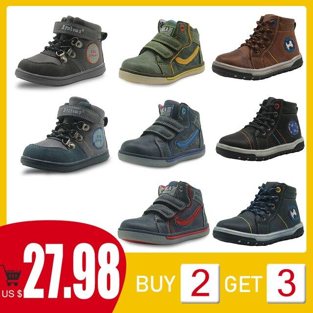 Apakowa # buy 2 obter 1 livre # criança meninos primavera outono gancho e laço botas de tornozelo curto crianças tênis de renda sapatos casuais
