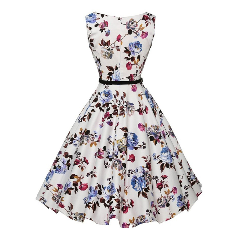 2017 New Arrival Floral Print Retro 50s 60s Swing Dress