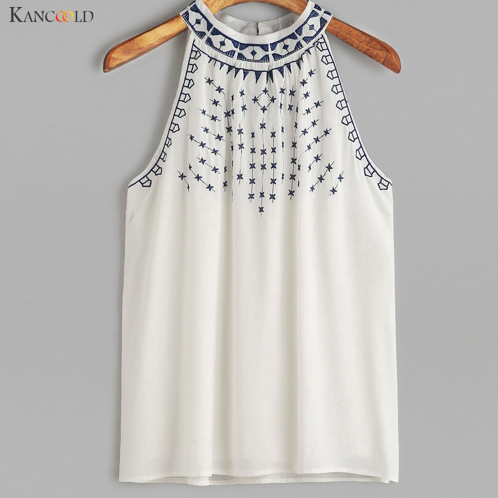 Women Ethnic Style Embroidered Strappy Sleeveless Tank