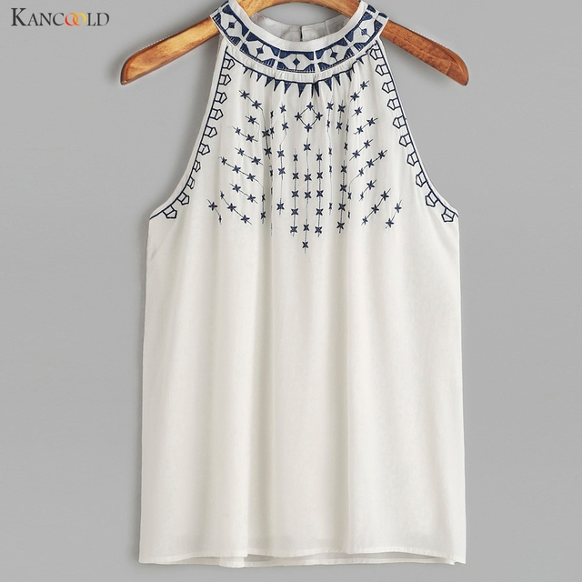 b6a210aa000 Women Ethnic Style Embroidered Strappy Sleeveless Tank Tops Summer Lady  O-Neck Crop Tops Girls Short Vest Camisole Feb7