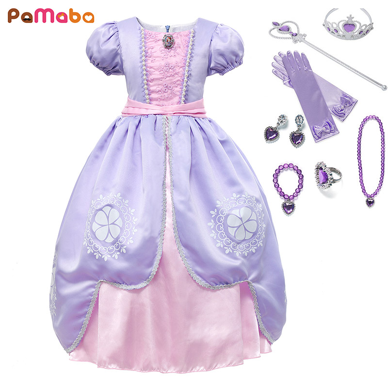 PaMaBa Fancy Girls Sofia the First Clothes Dress Kids Princess Sofia Birthday Party Frocks Children Halloween Cosplay Dress up цена