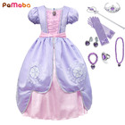PaMaBa Fancy Girls Sofia the First Clothes Dress Kids Princess Sofia Birthday Party Frocks Children Halloween Cosplay Dress up