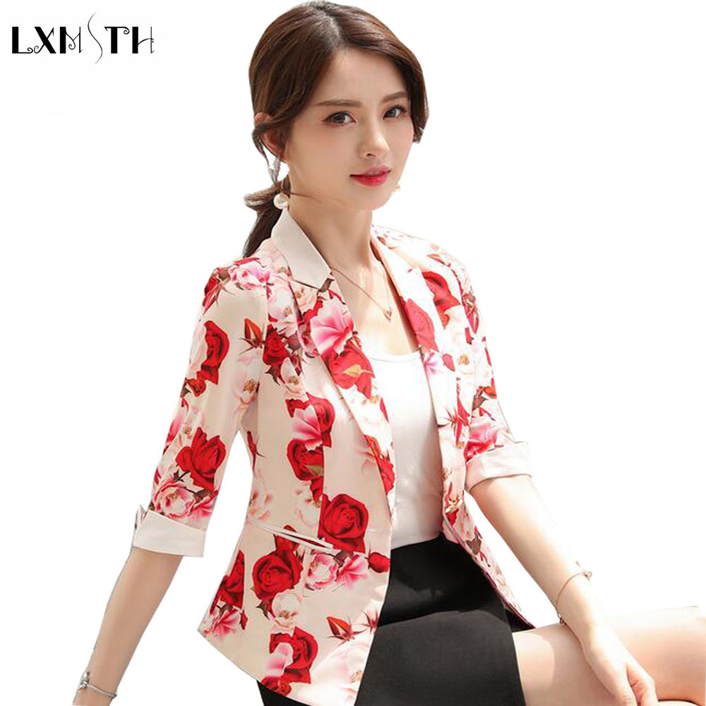 Lxmsth 2018 Spring Autumn Suit Jacket Women White Black Pink Korean