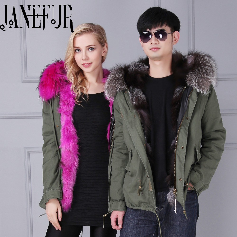 Lover couple parka womens coats winter 2016 Ladies Real Fox fur Lined Oversized Jackets Winter Fur Lining Coat Overcoat