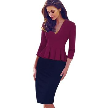 Best Price Spring Autumn Sexy Low Cut V Neck Women Business Dresses Formal  Bodycon Office Side Zipper Pencil Business Dress EB241 EB422 ad43d497aa26