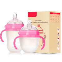 newborn baby bottle feeding wide mouth baby bottle Removable handle straw Food grade silicone bottle