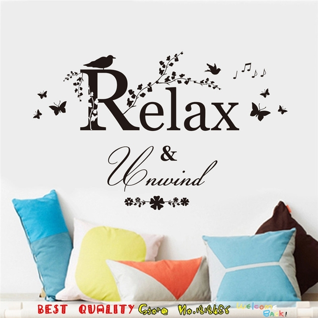 Relax Warm Quote Wall Stickers Bird Butterfly Tree Flower Home