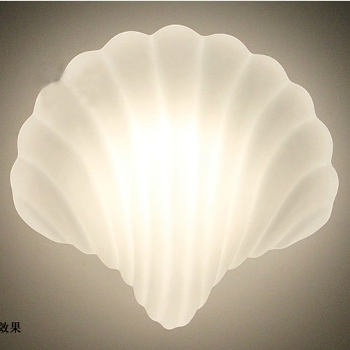 Glass Shell Wall lamp White Shell Wall lights Sconce Creative Light Wall Lamps Fixture E27 lamp holder 40W 110V 220V image
