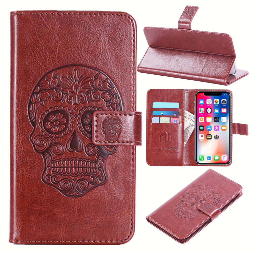 GUCOON Embossed Skull Wolf Case for FLY IQ4406 ERA Nano 6 4.5inch Vintage Protective Phone Shell Fashion Cool Cover Bag