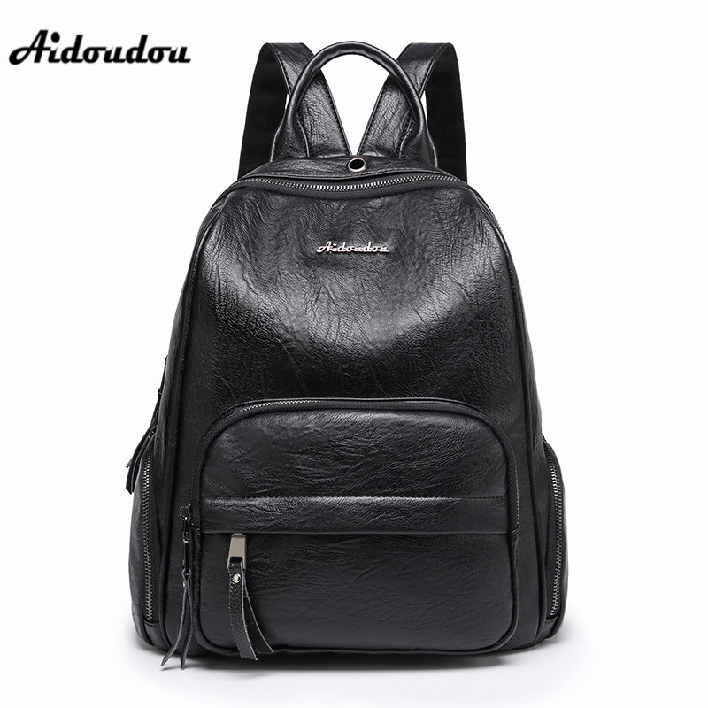 AIDOUDOU Brand 2018 Leather Backpack Fashion PU School Bags for Students Girls Bagpack Travel Women Backpack Mochila Feminina new fashion women s pu leather backpack school bags for teenagers mochila feminina students causel backpack girl shoulder bag