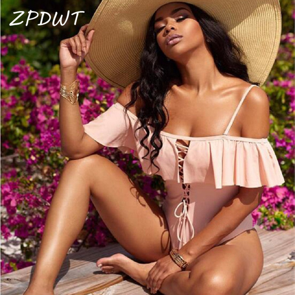 ZPDWT Sexy Ruffle Monokini Off Shoulder Solid Swimwear Women One Piece Swimsuit Female Bathing Suit Strappy Swim Wear Bodysuit 2017 sexy off shoulder swim wear lady high cut bathing suit ruffle monokini thong swimwear women one piece swimsuit