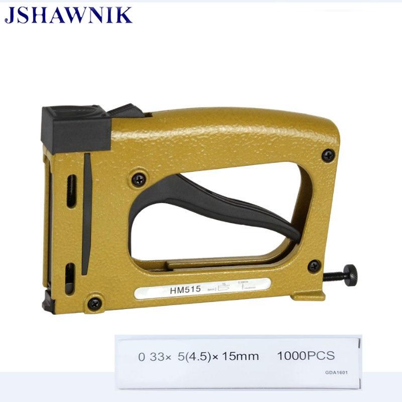 цена на Free shipping manual patch nail gun HM515 frame backplane fixed hand tacker with 1000pcs pins Photo frame tool finishing nailer