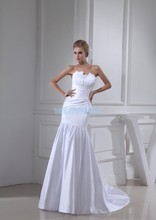 free shipping new design fashion bride long custom size/color white/ivory lace up elie saab strapless wedding dresses 2013