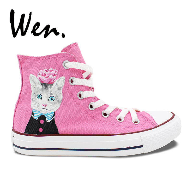 Wen Original Design Cat with Blue Bow Tie Pink Flower Hand Painted Sneakers Shoes Girls  ...