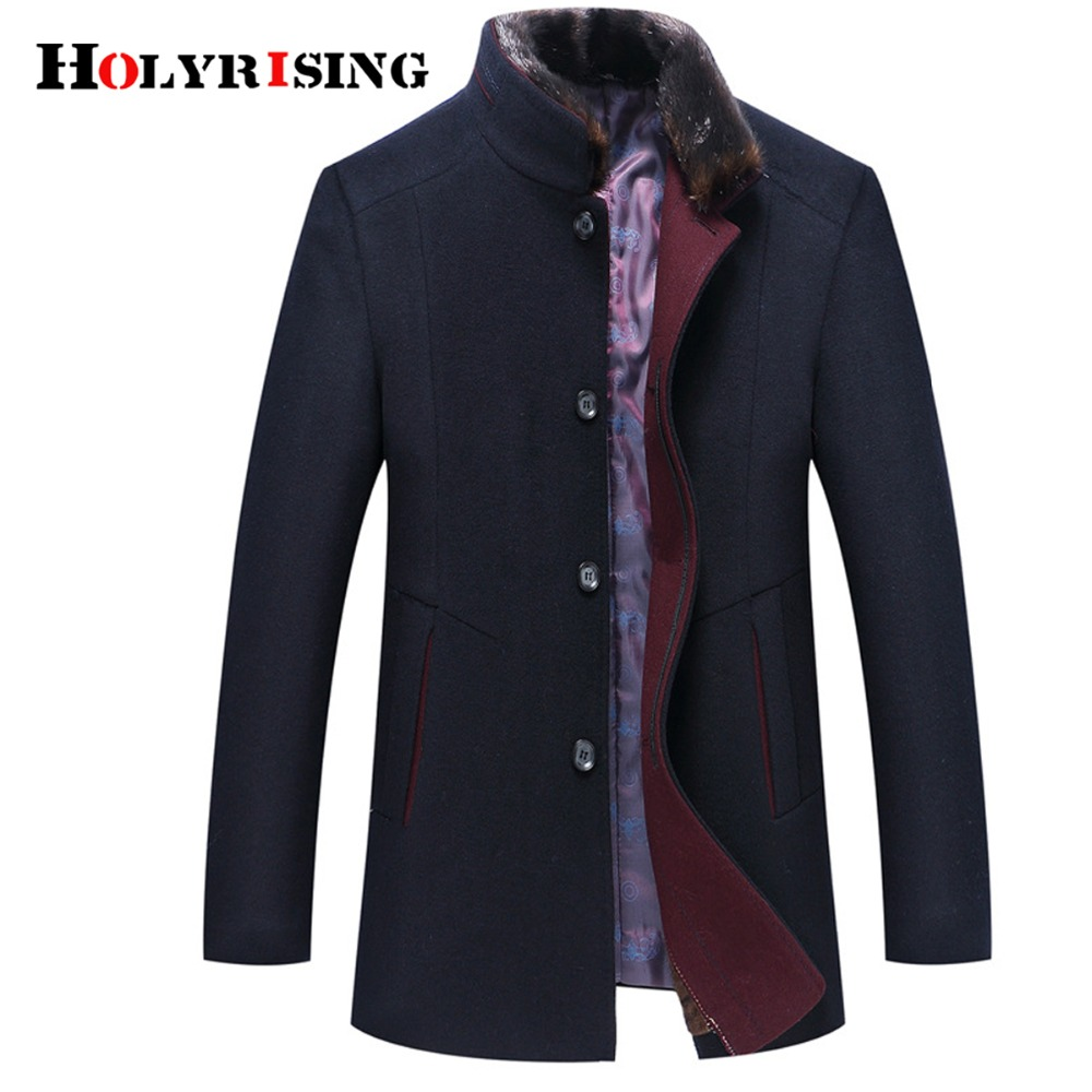 Holyrising Casaco Masculino Abrigo Wool Coats Thicken Men Woolen Coat Warm Overcoat Fur Collar Jackets Plus Size M-6XL 18439-5