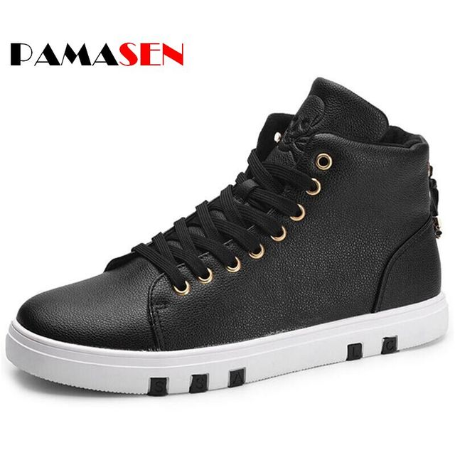 2016 New Autumn Men Casual Shoes Men's Skull Print High Top Winter pu Leather Men Oxford High Quality Bullock Shoes Size 39-44
