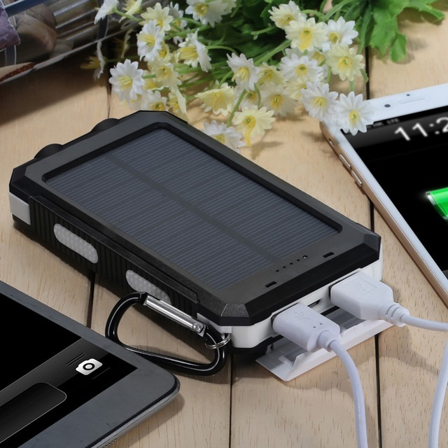 For Samsung S6 Waterproof 8000mAh Portable Solar Charger Dual USB Battery Power Bank For iPhone 5 5S 6S for Smartphones