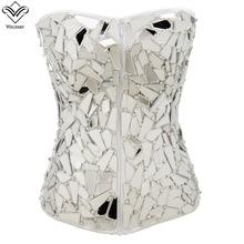 Wechery 새로운 여성 steampunk 코르셋 섹시한 고딕 corselet 기하학 패치 워크 bustiers 지퍼 레이스 업 gorset 자세 탑스 파티