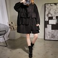 Oversize Ruffles Blouse Women 2017 New Casual Plus Size Loose Long Sleeve Blouse Shirt Black Blue ATT258