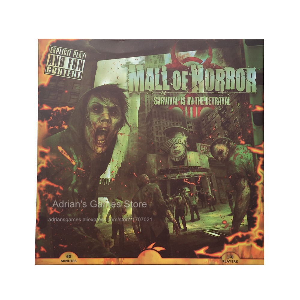 Mall of Horror Board Games Zombies Survival Game 3-6 Players 60min Age14+ Zombie Board Game