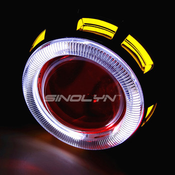 Motorcycle Headlight Double Angel Eyes Halo Demon Hid Bi Xenon Lens