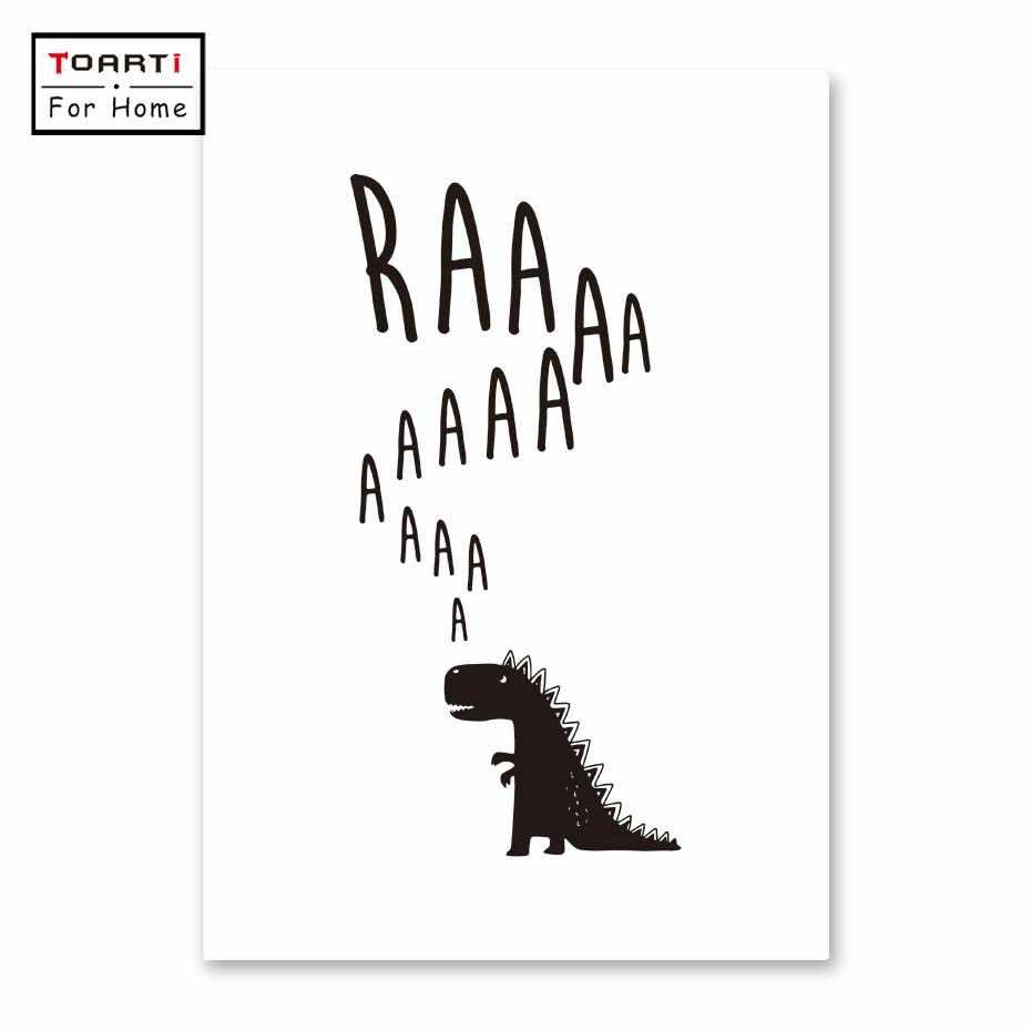 Dinosaurio negro blanco nórdico póster pared arte impresión lienzo pintura carteles e impresiones pared cuadros niños habitación Decoración