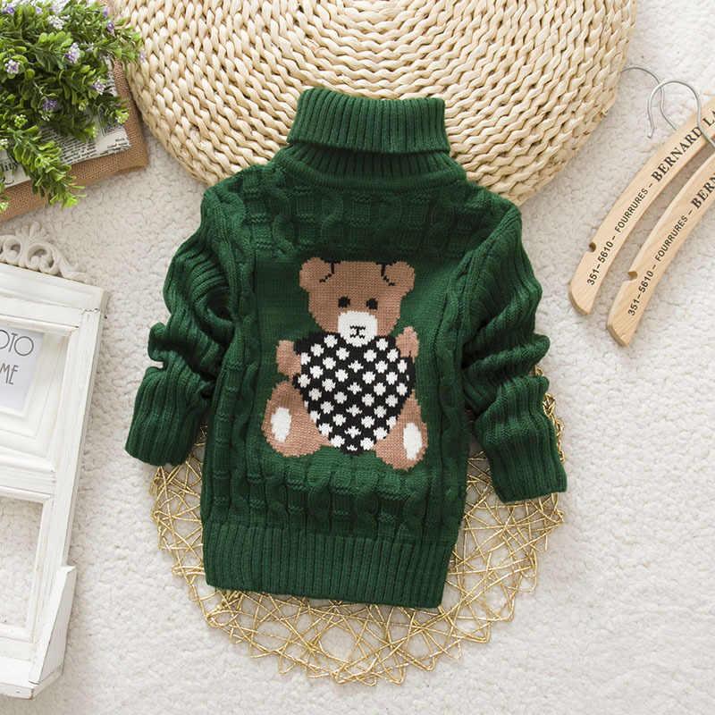 12M-24M ciepłe dziewczynek i chłopców odzież sweter wiosna/jesień dziecko swetry z golfem noworodka Cartoon wygodne ubrania 25