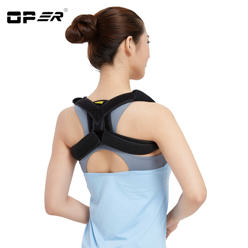 OPER Shoulder Support Bandage Belt Clavicle Posture Corrector Back Brace Shoulder Posture Corset Adjustable Women Black/Beige