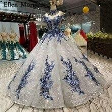 כסף גליטר בד תחרת כדור שמלות כלה שמלות 2019 סעודית כבוי כתף 3D פרחים אפריקאי שחור ילדה כלה שמלות
