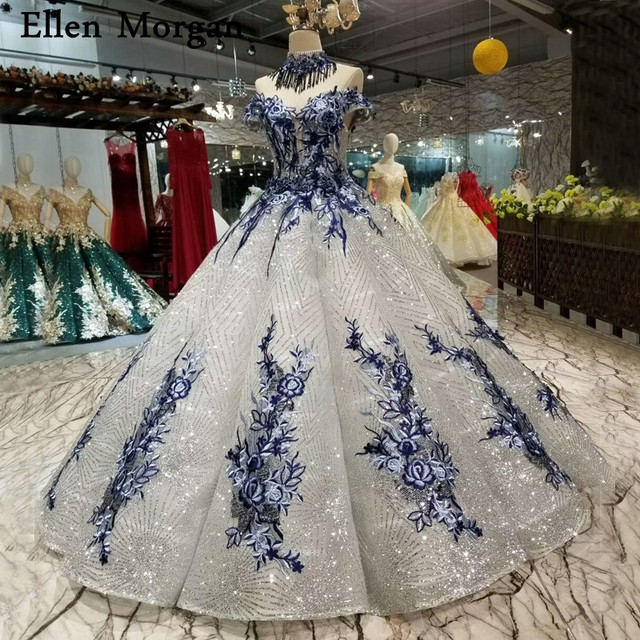 Silver Glitter Fabric Lace Ball Gowns Wedding Dresses 2019 Saudi Arabian Off Shoulder 3D Flowers African Black Girl Bridal Gowns