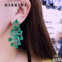 HIBRIDE Green Water Drop Women Dangle Earrings For Gifts CZ Stone Long Drop Earring For Women Bridal Gifts Fashion Jewelry E-411