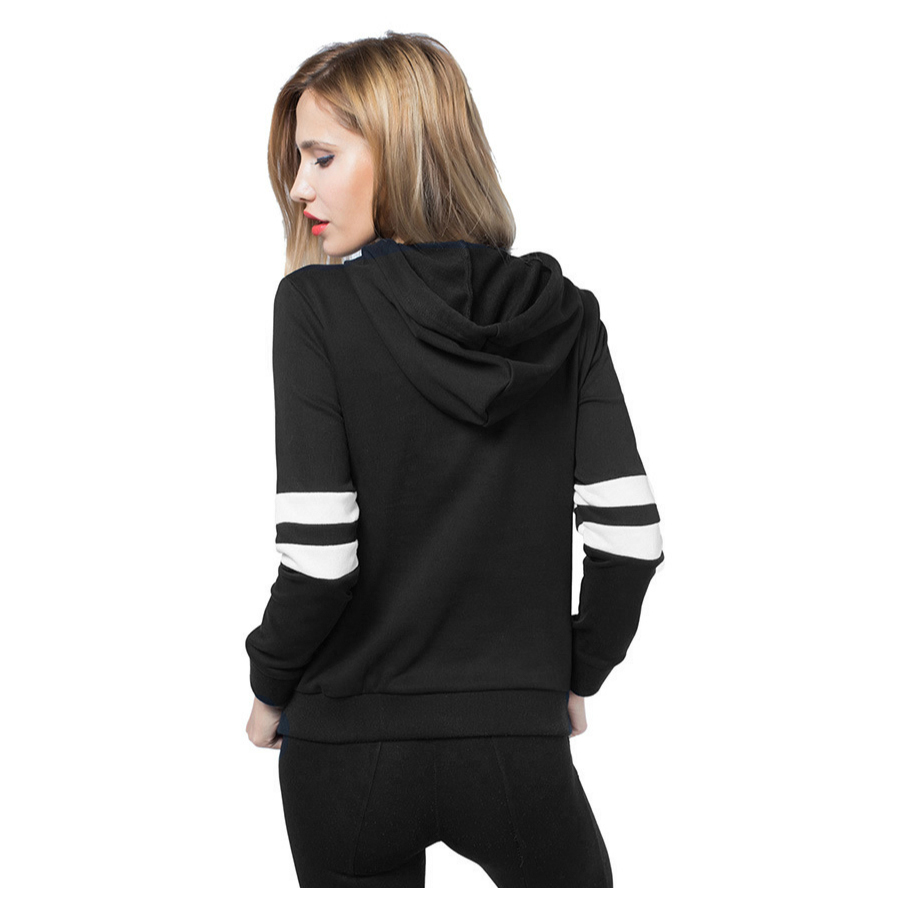 MYPF-Womens New Spring Autumn Casual Loose Long Sleeve Female Fashion Hooded Striped Patchwork Pullover Hoodies Sweatshirts(W ...