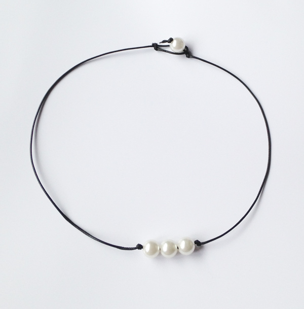 f6640d6a5f82e US $3.39 15% OFF 10mm triple pearl necklace natural cultured ivory pearl  jewelry freshwater pearl choker necklace brown leather necklaces women-in  ...