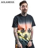 Aolamegs T-shirt Männer Kokospalme Gedruckt männer T-shirts Oansatz T-shirt Baumwolle Fashion High Street Tees Sommer Streetwear