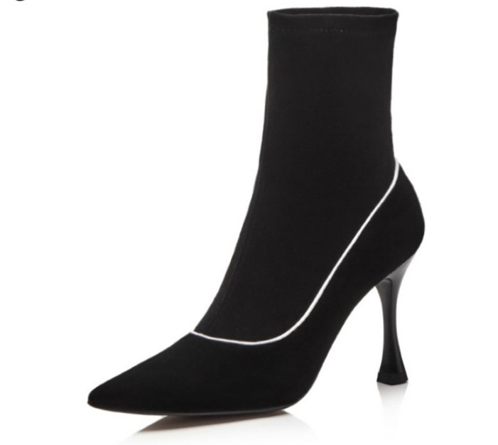 High heels suede Ankle Boots for women pointed toe sock Shoes girls spring Fall candy color Botines Mujer 2018 Women Pumps