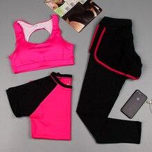 3 piece Yoga Sets Women's tracksuit sportswear Bra sport costumes Trousers for women leggins sport women fitness female T-shirt